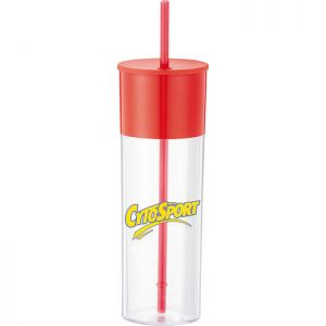 Color Band 22oz Tumbler With Straw