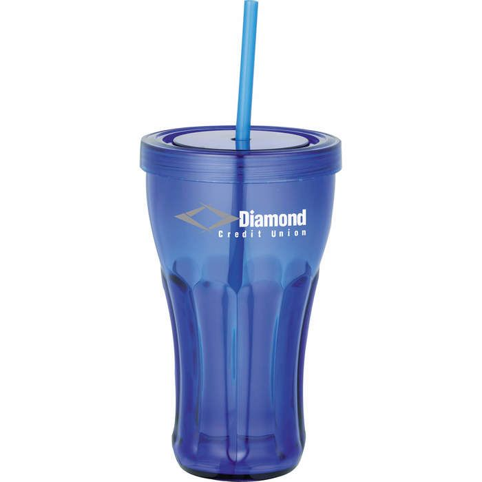 Fountain Soda 16 oz Tumbler with Straw - Translucent Blue
