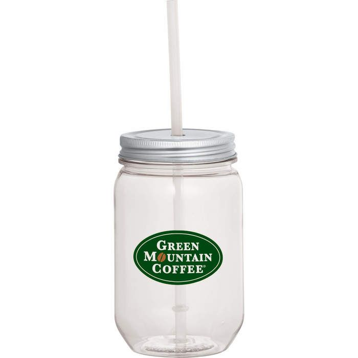Mason Jar 22 oz with Silver Tin Lid - Clear