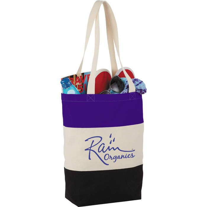 8oz. Cotton Color Block Tote Bags