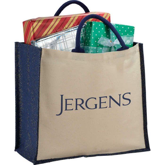 Metallic Jute and Cotton Shopper Tote Bags
