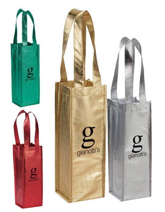 Metallic Single Bottle Wine Tote Bags