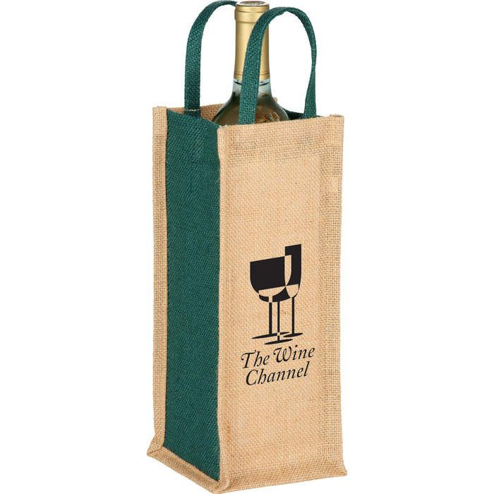 Jute Single Bottle Wine Tote Bags