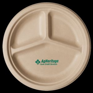 10 inch Kraft 3-Compartment Compostable Paper Plate