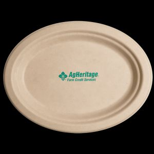 10 inch Kraft Oval Compostable Paper Plate