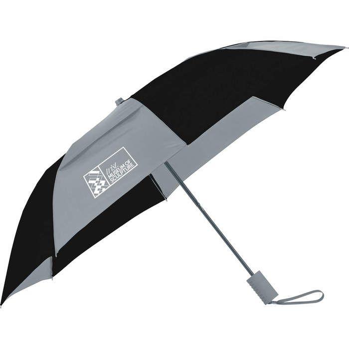 "42"" Vented, Folding Umbrella - Gray Black"