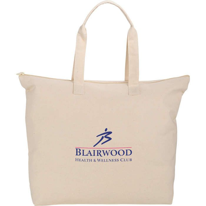 10 oz Cotton Canvas Zippered Tote - Natural