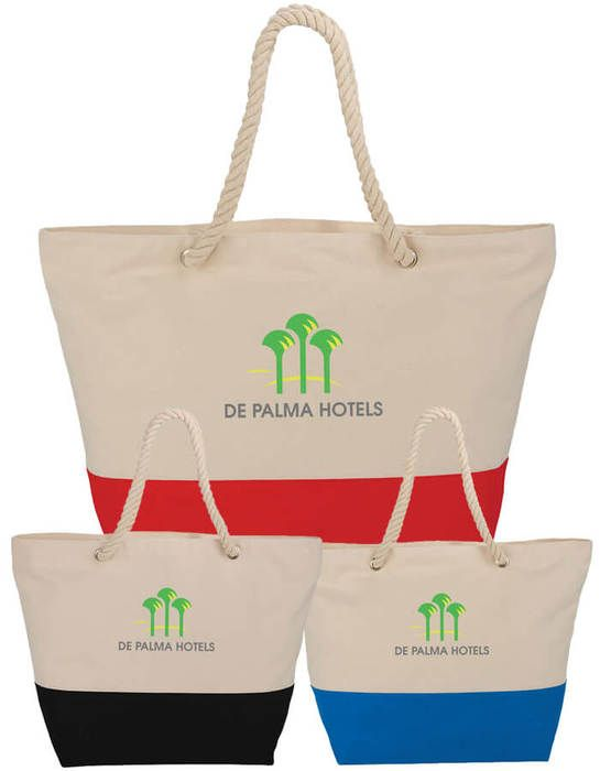 12 oz Zippered Cotton Canvas Rope Tote