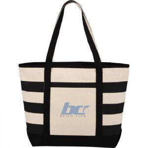 10 oz Zippered Cotton Canvas Stripe Tote
