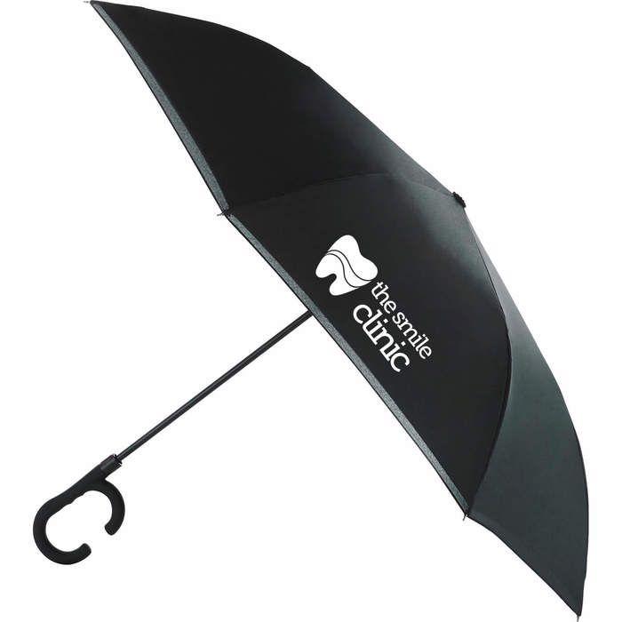 """48"""" Inversion Auto Open Umbrella w/ C-Shap handle - Black"""