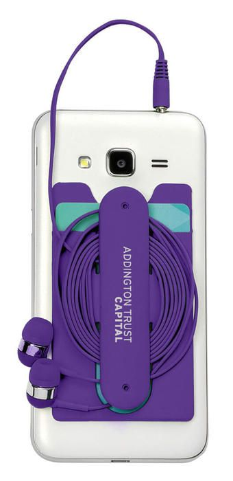Silicone Business Card Holder with Wired Earbuds - Purple