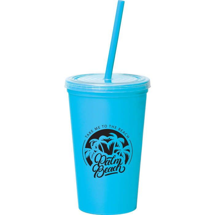 16oz Double-Wall Tumbler with Straw - Light Blue