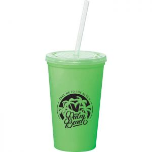 16oz Double-Wall Tumbler with Straw