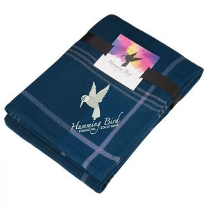 Plaid Fleece Sherpa Blanket with Full Color Card