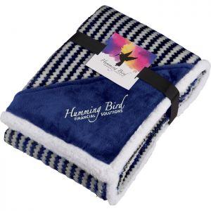 Chevron Striped Sherpa Blanket w/Card