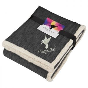 Heathered Fleece Sherpa Blanket w/Card