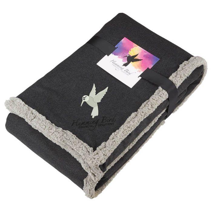 Oversized Wool Sherpa Blanket w/Card