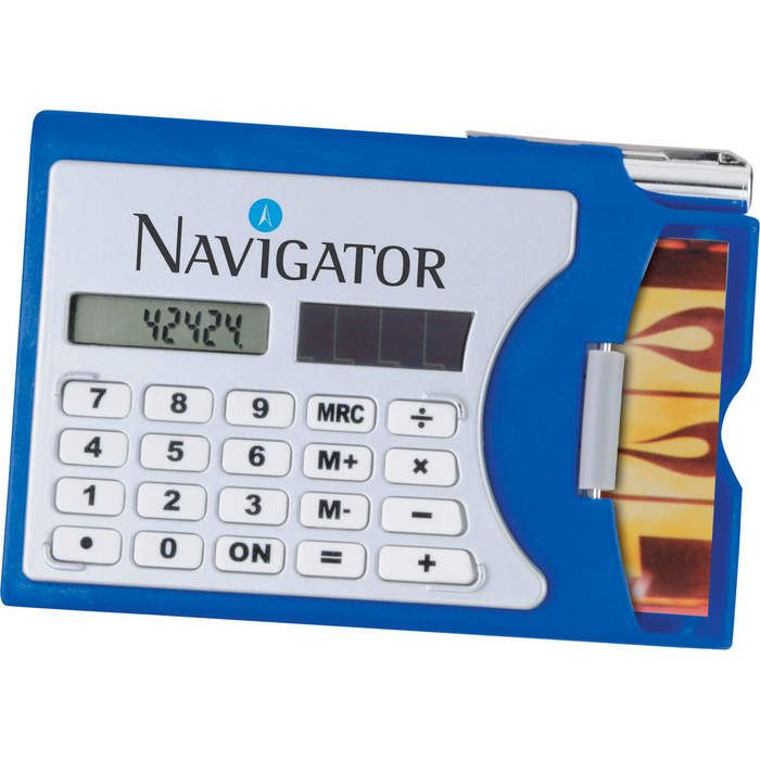 Business Card Holder with Calculator - Silver w Blue Trim