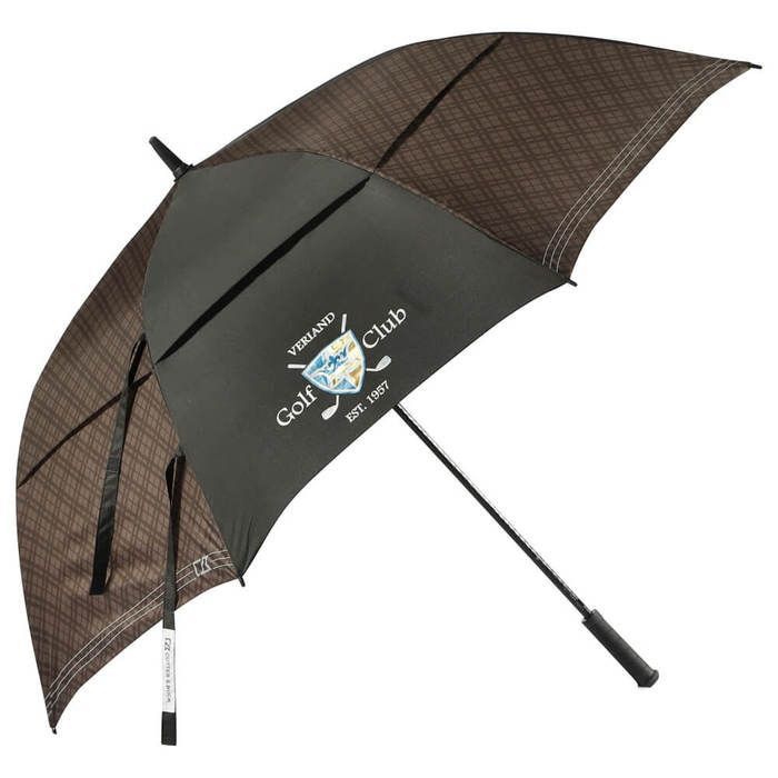"64"" Cutter & Buck Plaid Golf Umbrella - Black"