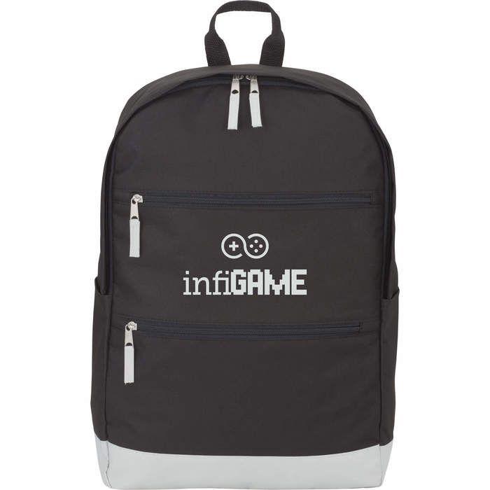 """Vertical Zip 15"""" Computer Backpack - Light Gray"""