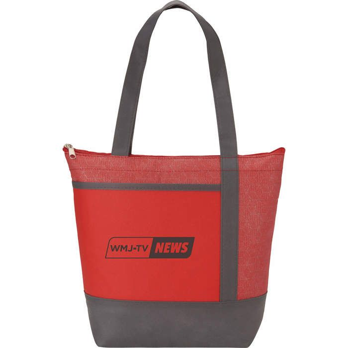 Chrome Non-Woven 9 Can Lunch Cooler - Red