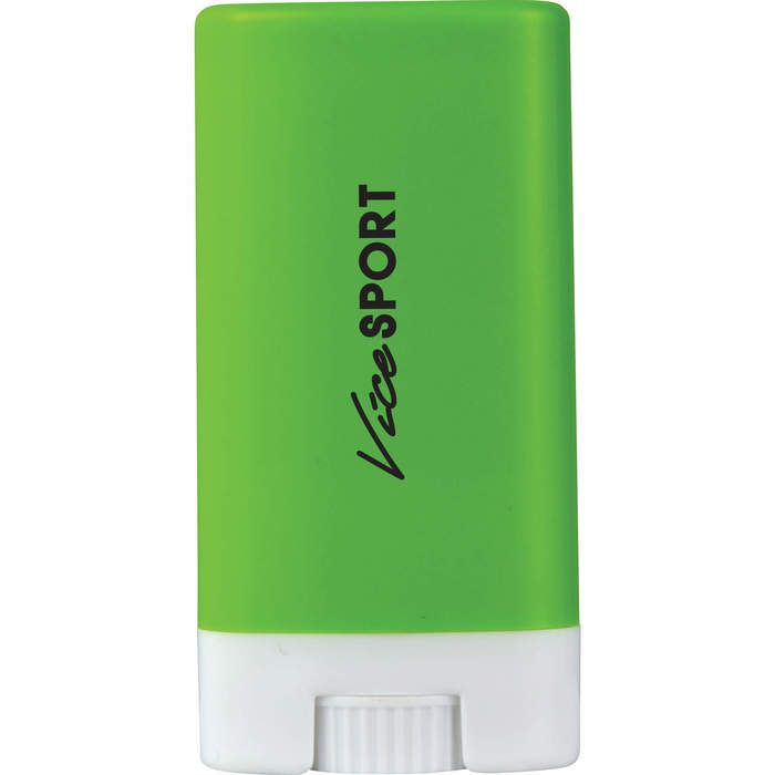 Green sunscreen stick personalized with logo