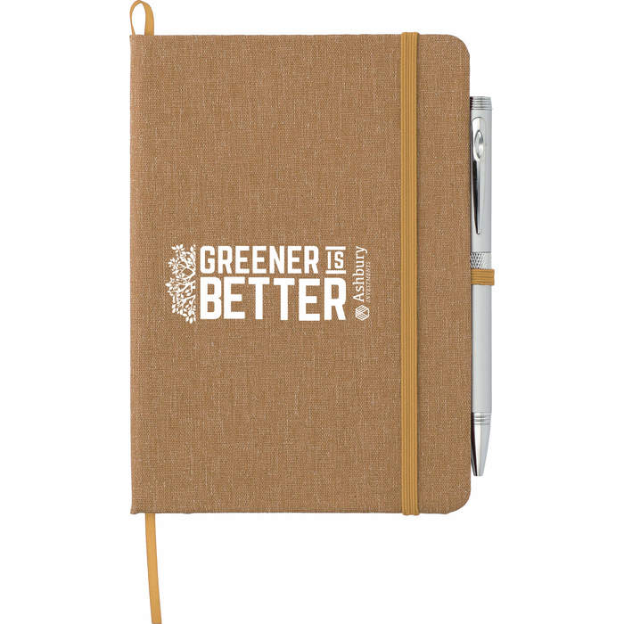"""5"""" x 7"""" Recycled Cotton Bound Notebook - Natural"""