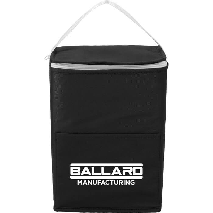 Budget Tall Non-Woven 12 Can Lunch Bags - Black