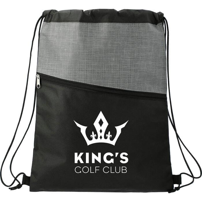 Cross Weave Zippered Drawstring Bags - Gray