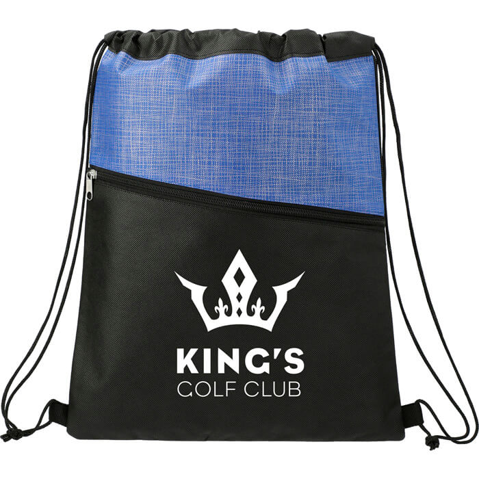 Cross Weave Zippered Drawstring Bags - Royal Blue
