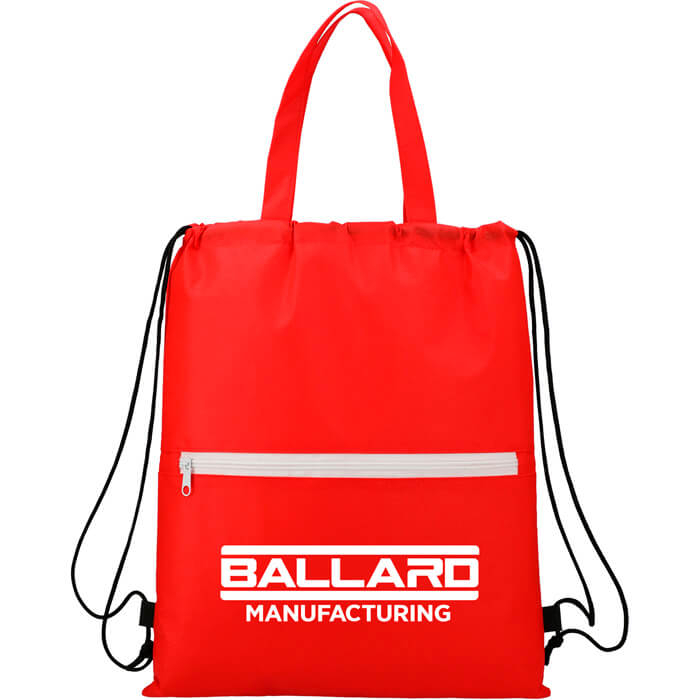 Budget Non-Woven Drawstring Bags - Red