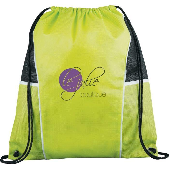 Diamond Drawstring Bags - Lime Green