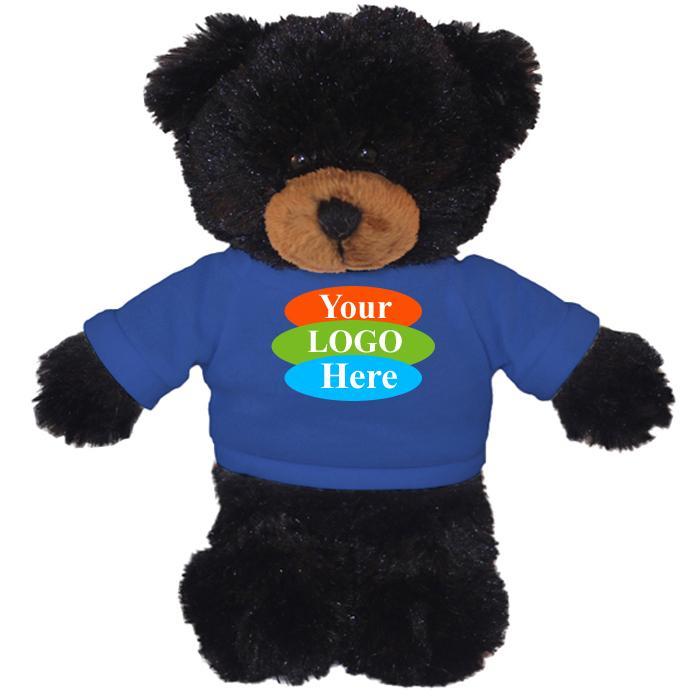 """Black Teddy Bear in T-Shirt 12"""""""