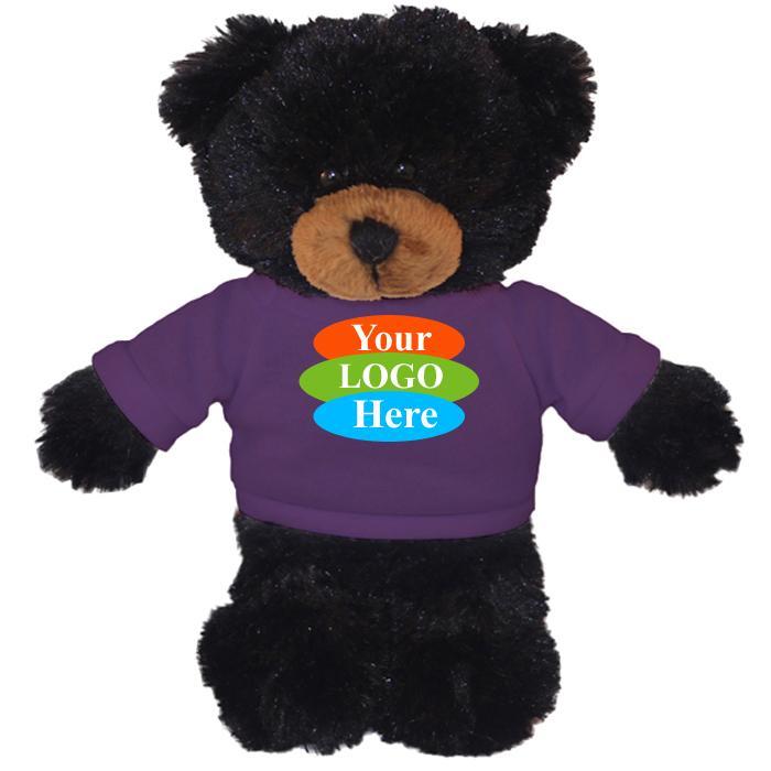 """Black Teddy Bear in T-Shirt 8"""""""
