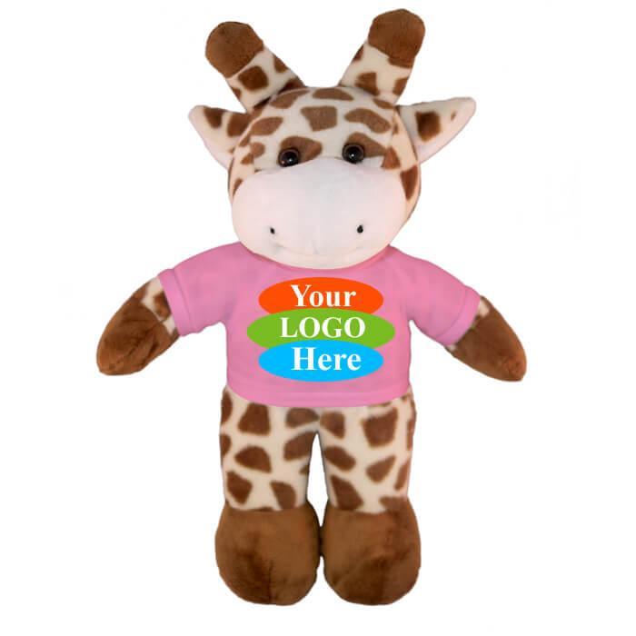 "Giraffe in T-shirt 12"" - Burgundy"