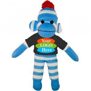 """Blue Sock Monkey in T-shirt 10"""""""