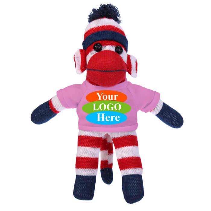 "Patriotic Sock Monkey in T-shirt 10"" - Blue"