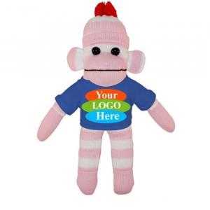 """Pink Sock Monkey in T-shirt 10"""""""