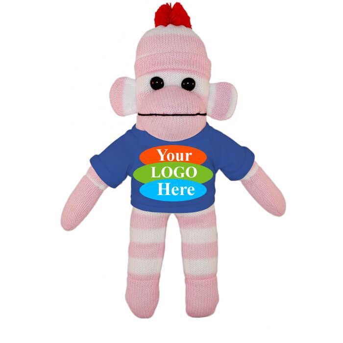 "Pink Sock Monkey in T-shirt 10"" - Black"
