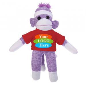 """Purple Sock Monkey in T-shirt 10"""""""