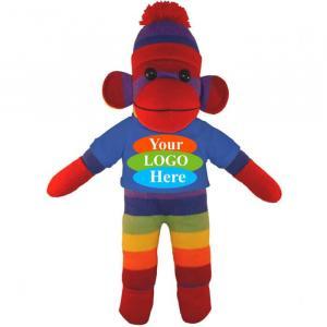 "Rainbow Sock Monkey in T-shirt 10"""
