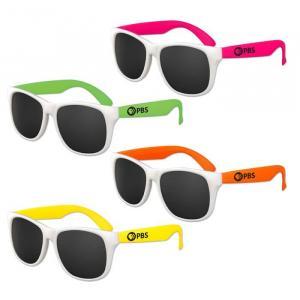 Kids White Frame Classic Neon Sunglasses