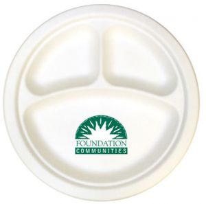 10 inch 3 Compartment Compostable Paper Plates