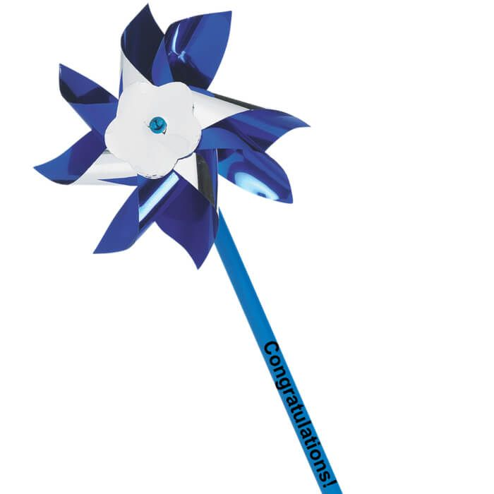 "4"" Blue and Silver Pinwheels"