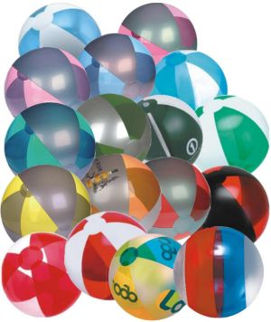 16 Inch Alternating Translucent Panels Beach Balls