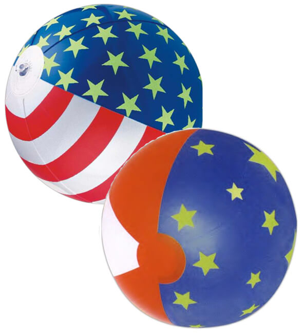 16 inch Glow in the Dark Patriotic Beach Balls