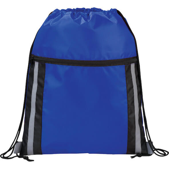 Deluxe Reflective Drawstring Bags - Royal