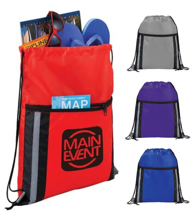 Deluxe Reflective Drawstring Bags