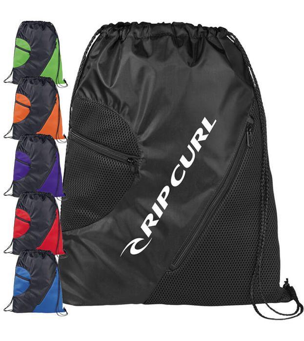 Zippered Mesh Drawstring Bags